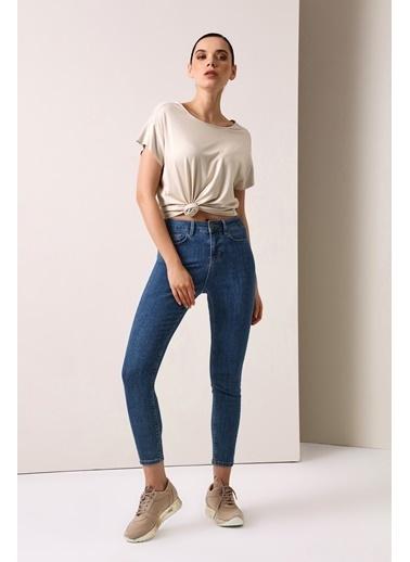 Gusto Kadın Mavi Skinny  Jean Pantolon 21YGÖ03111 Mavi